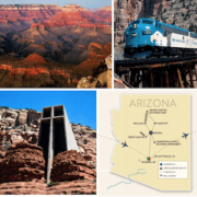 a map of arizona with photos of a train