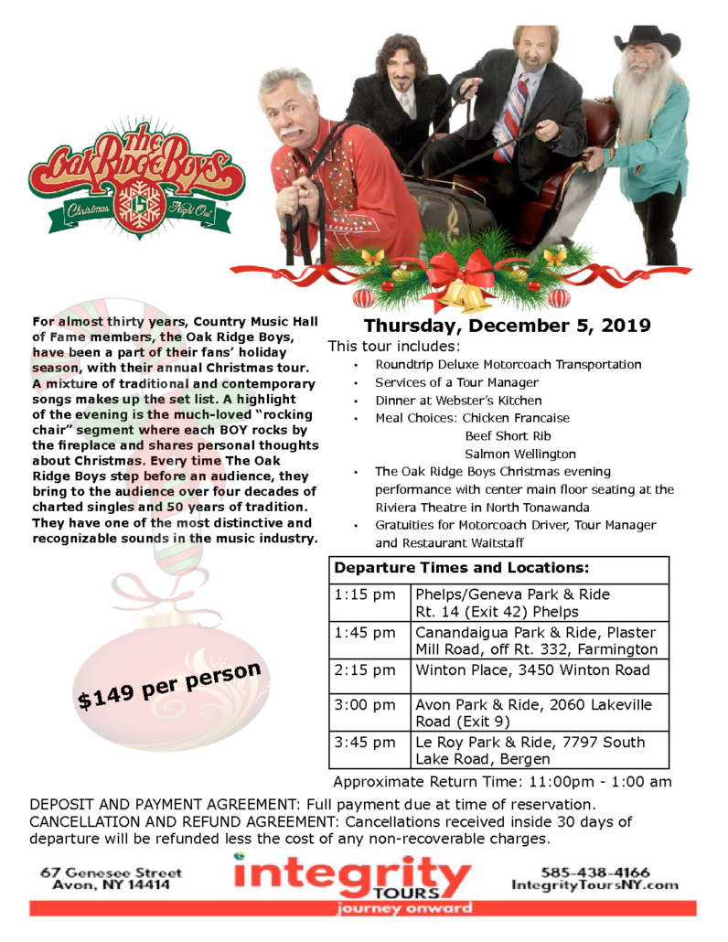 Avon Ny December 2019 Calendar December 5, 2019 The Oak Ridge Boys, Christmas Night Out